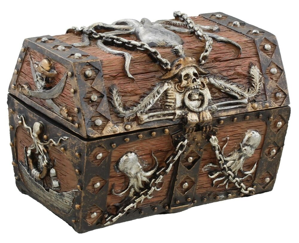Pirates Treasure Chest Jewelry Ring Trinket Stash Box ...