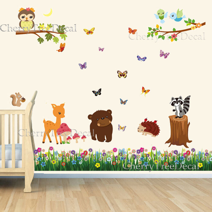 Nursery Wall Decor Butterflies : Woodland friends butterfly grass wall decal stickers