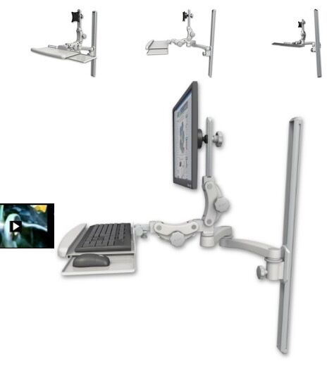 icw ultra 550 lcd mount 36 wall track slider paralink keyboard tray 20 arm ebay. Black Bedroom Furniture Sets. Home Design Ideas