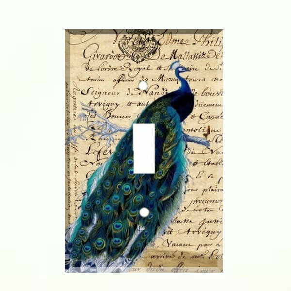 French Blue Peacock Light Switch Plate Wall Cover Peacock Decor Ebay