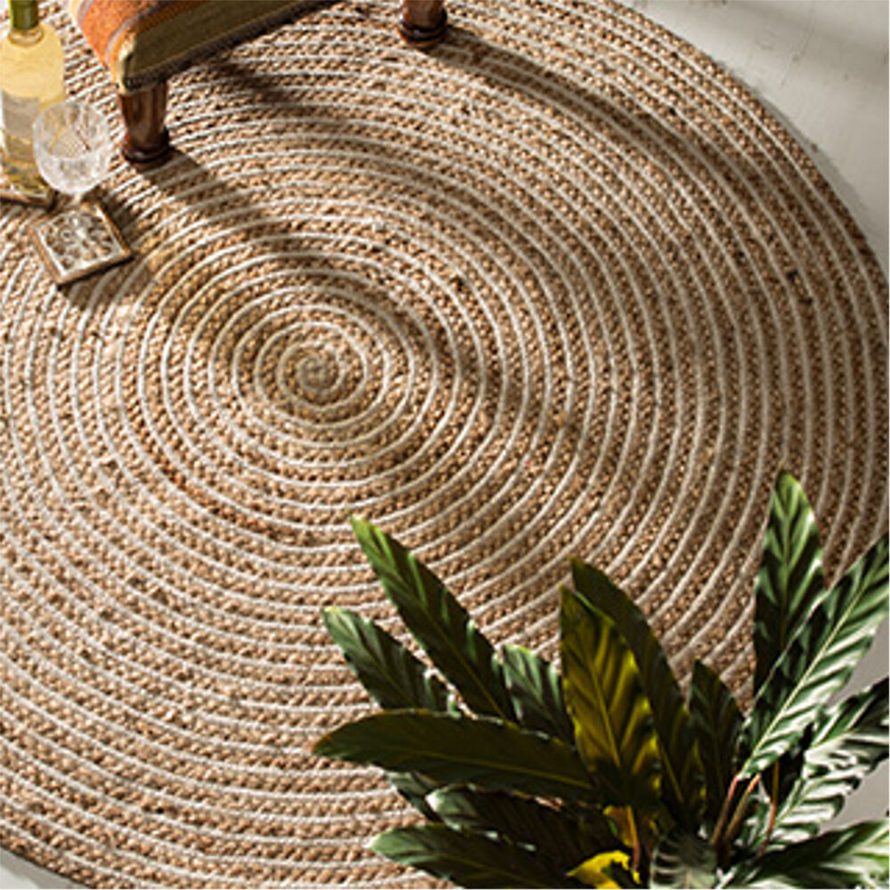 fair trade jute cotton braided natural round indian rug 90 120 cm ebay. Black Bedroom Furniture Sets. Home Design Ideas