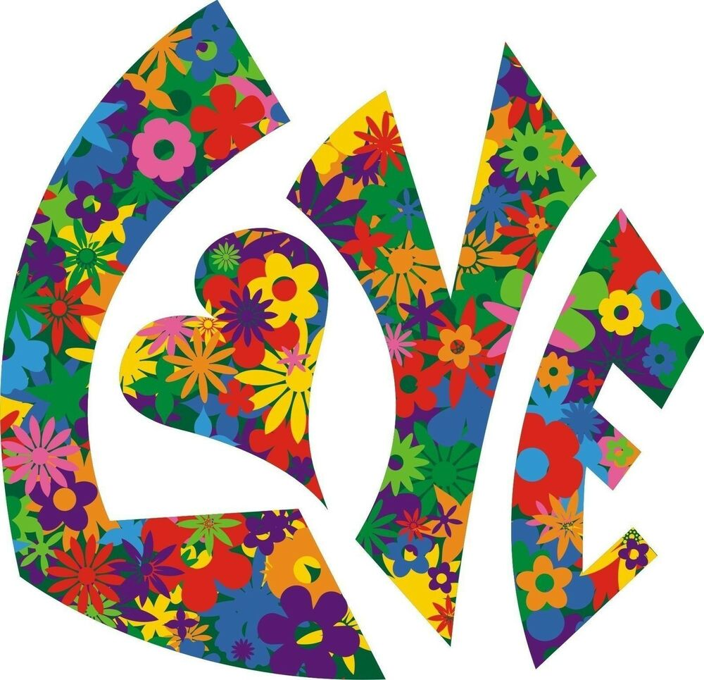 Love Flower Power Luv Hippy Sticker Decal Graphic Vinyl