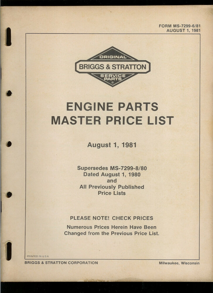 S L on Briggs And Stratton Engine Specs