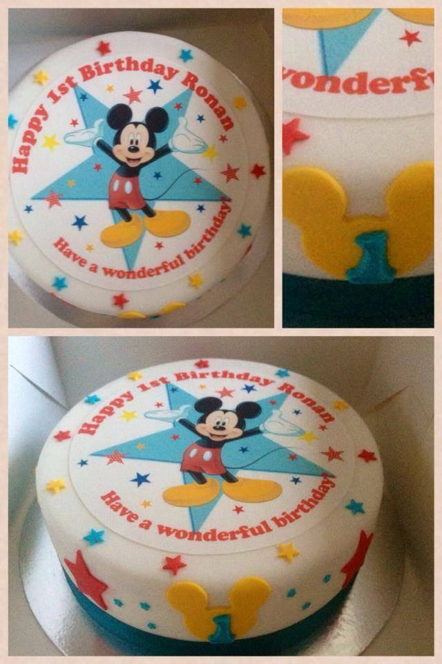 """EDIBLE DISNEY MICKEY MOUSE 7.5"""" ICING BOYS PERSONALISED ..."""