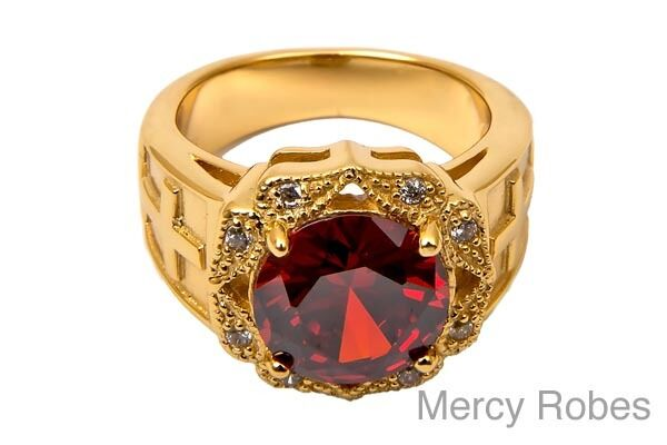 New Womens Apostle Ring Red Stone Side Cross Religious