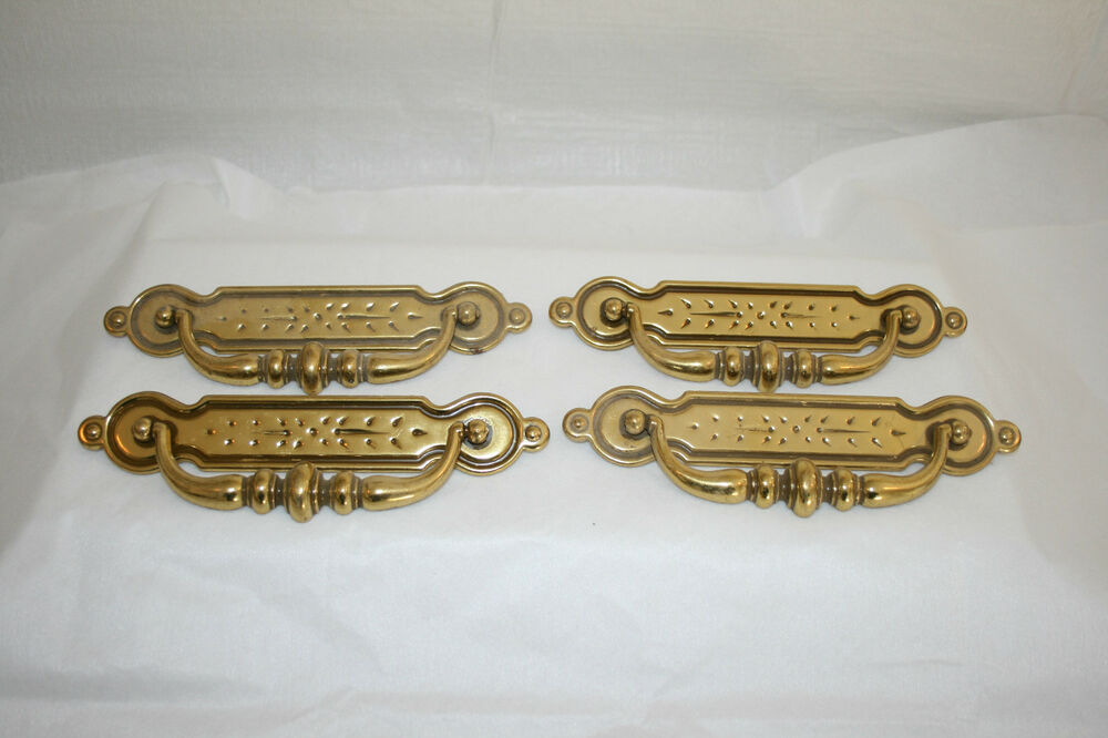 cabinet pull backplate brass drawer pulls bail and backplate set of 4 ebay 13006