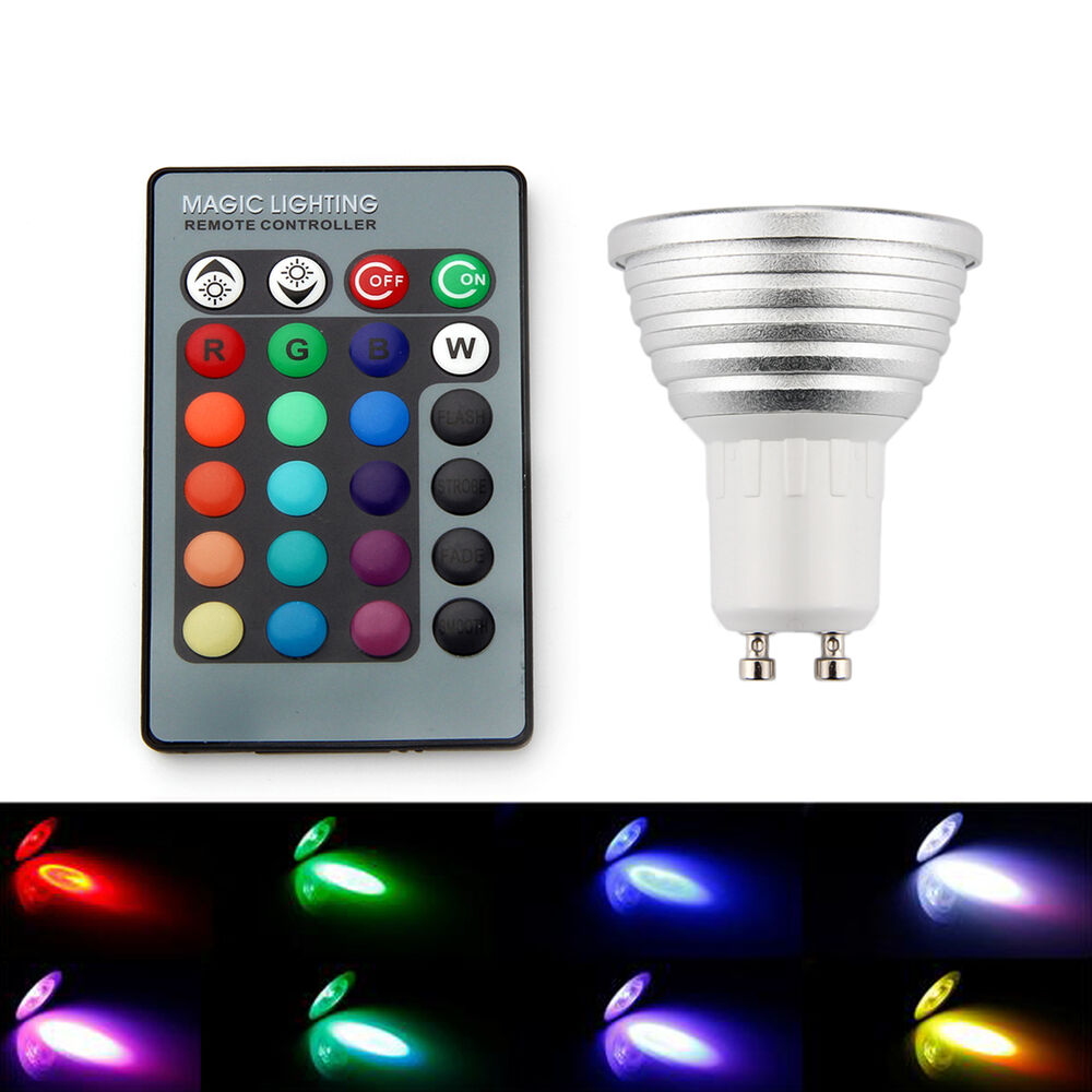 4x Gu10 3w 16 Color Changing Rgb Led Light Bulb Dimmable Lamp Ir Remote Control Ebay