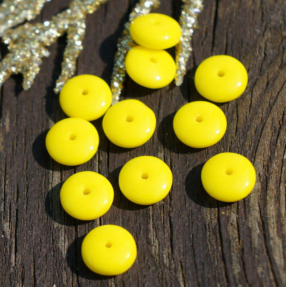 Opaque yellow czech glass disc beads washer solo flat disk for Glass discs for crafts