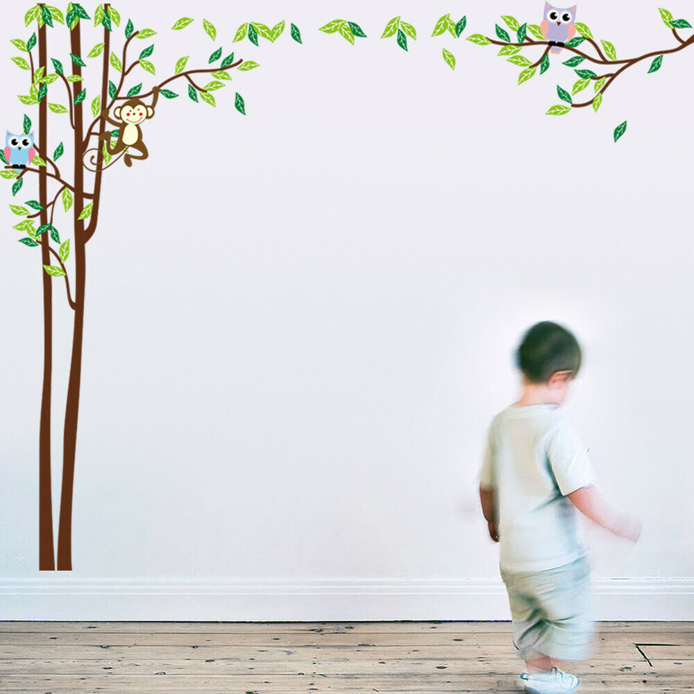 wandtattoo wandsticker aufkleber baum wald sticker foto eulen kinderzimmer affe ebay. Black Bedroom Furniture Sets. Home Design Ideas