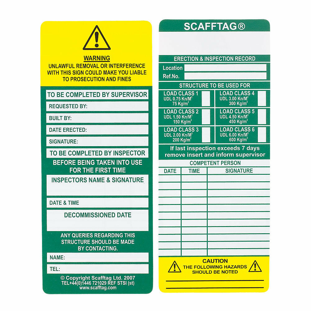 New Scafftag Scaffold Standard Inspection Inserts Tags