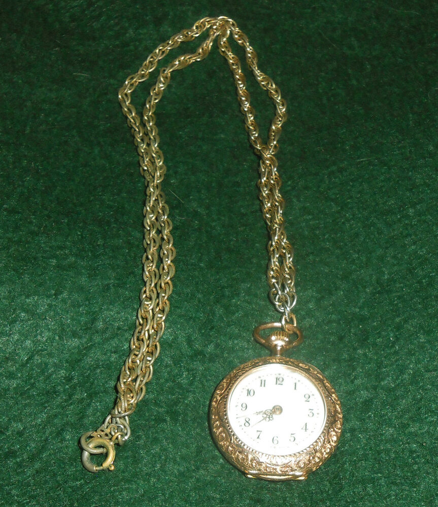 Antique 14K Gold Enamel Ladies Pocket Watch .585 Swiss w ...