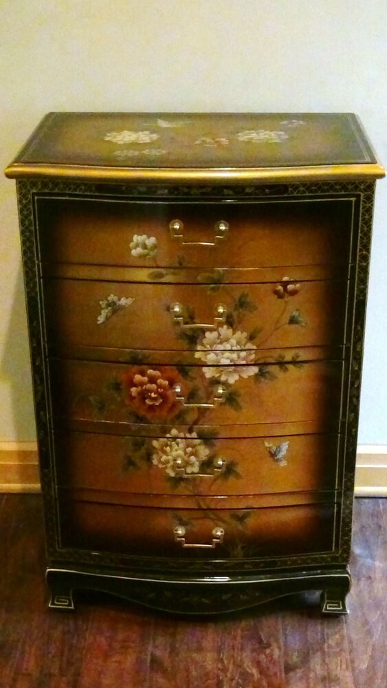 Mid 20c Chinese Chinoiserie Five Drawer Chest With Black