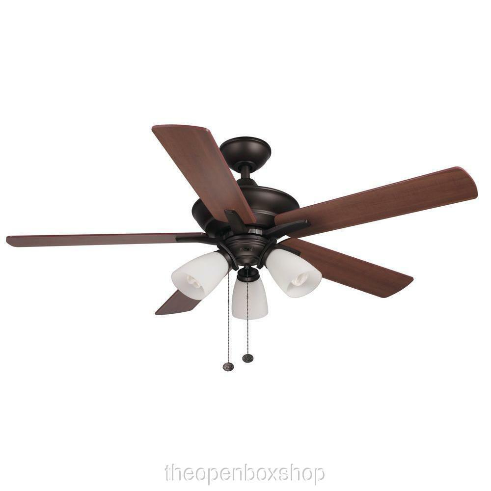 hampton bay lampkin 52 in oiled rubbed bronze ceiling fan with light kit ebay. Black Bedroom Furniture Sets. Home Design Ideas