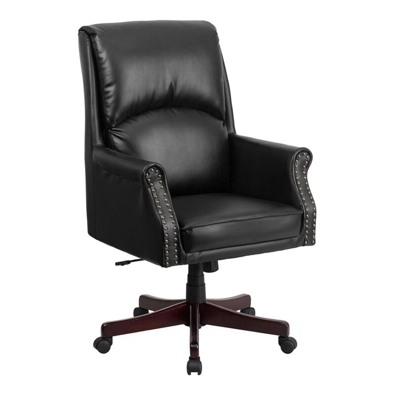 back black leather executive swivel office chair black new ebay