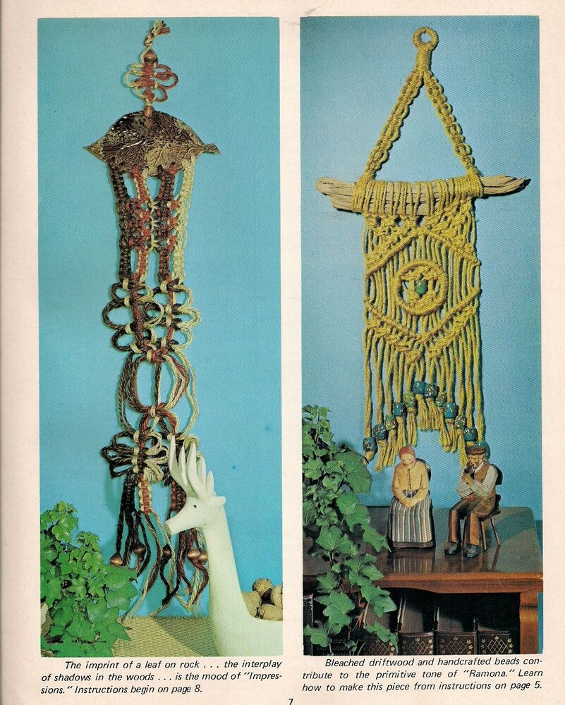 1970s wall decor patterns craft book h228 macrame for Art craft wall hanging