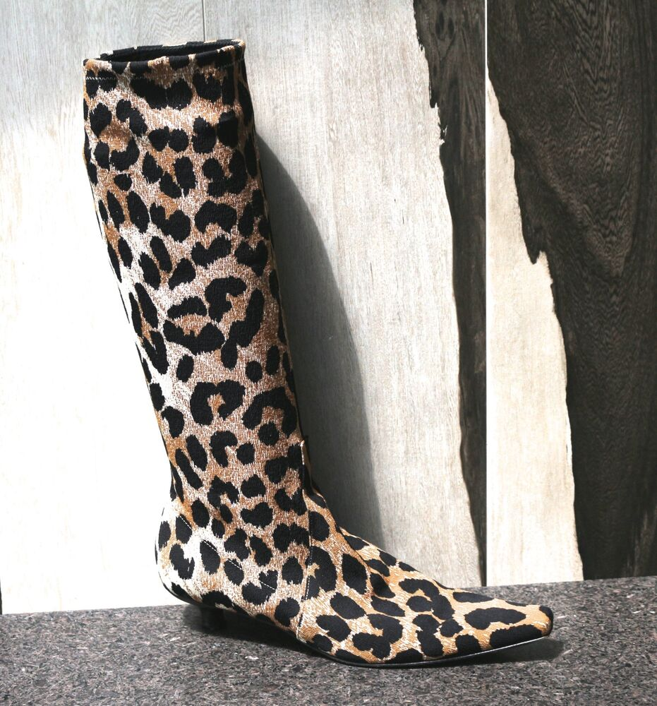 vintage pre owned casadei fabric leopard print knee high