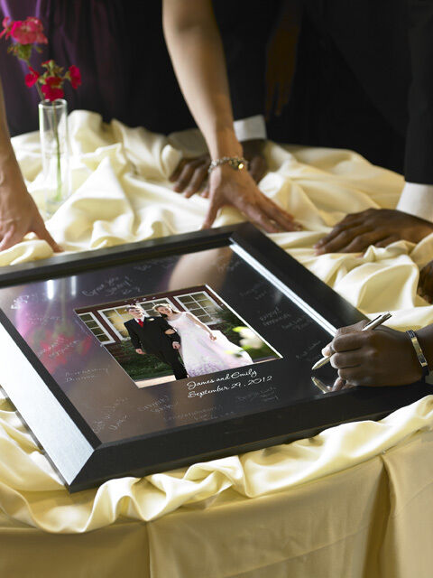 22 x 24 engraved signature black frame wedding guest book scribe pen