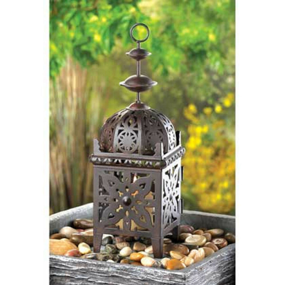 BROWN Metal Marrakech Punched Moroccan Lantern Candle ...