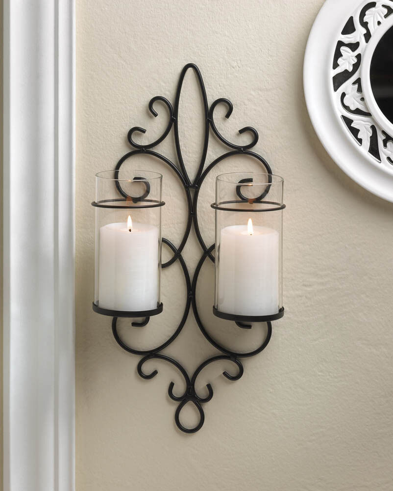 Iron Candle Holder Wall Sconce : Black iron scroll Artisanal Sconce WALL mount hurricane garden candle holder eBay