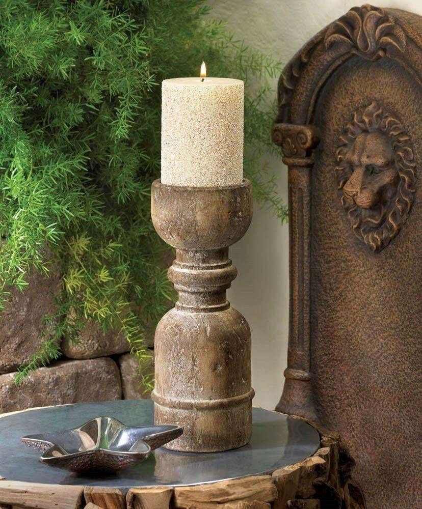 Rustic reclaimed recycled wood wooden pillar candle holder