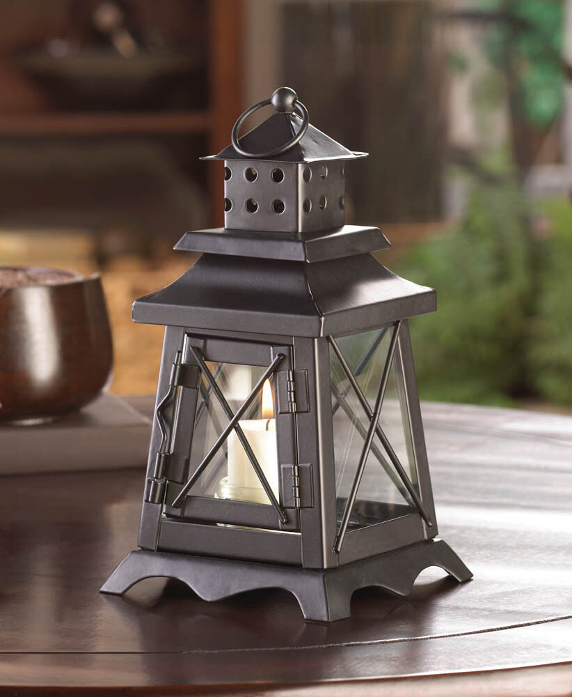 Black colonial lighthouse quot candle holder lantern light