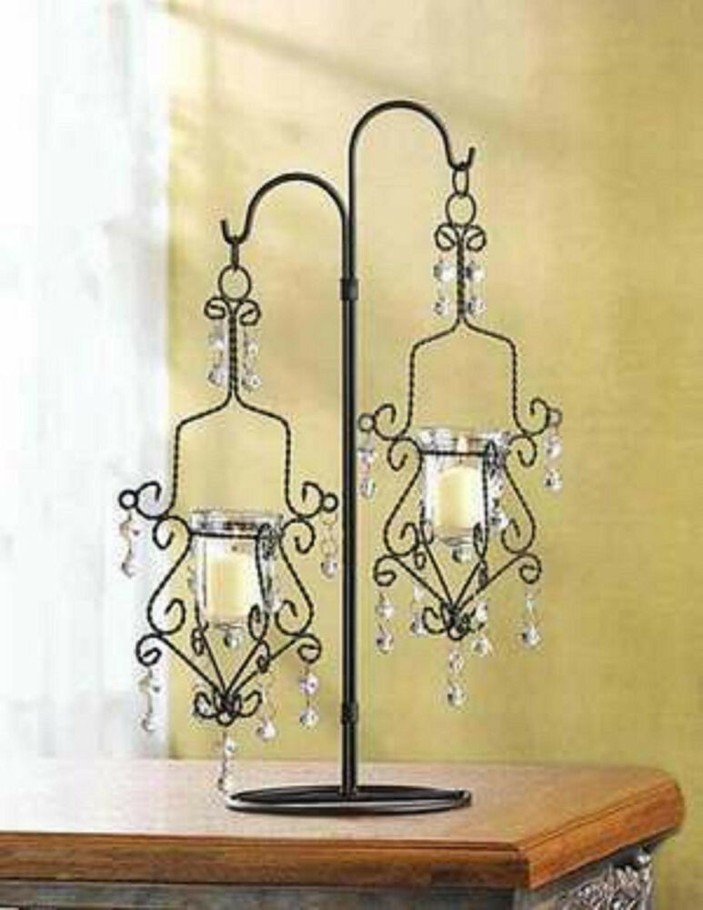 Black quot tall crystal beaded chandelier candle holder