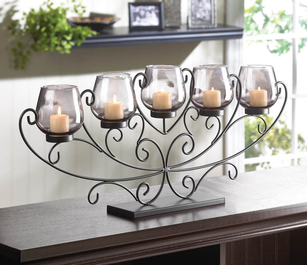 large 26 long black scroll fireplace candelabra candle