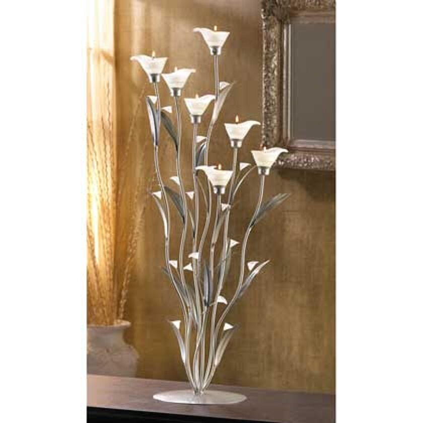 Large botanical lily candelabra floral art sculpture