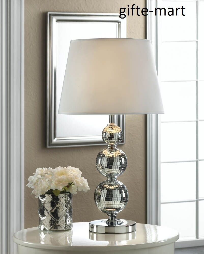 Silver stacked glass retro disco ball bubble mirror for Glass bedside lamp shades
