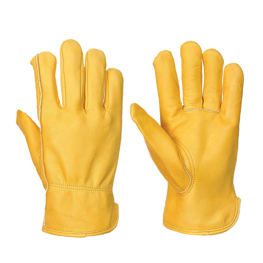 Fleece Lined Leather Lorry Drivers Work Gloves Hand