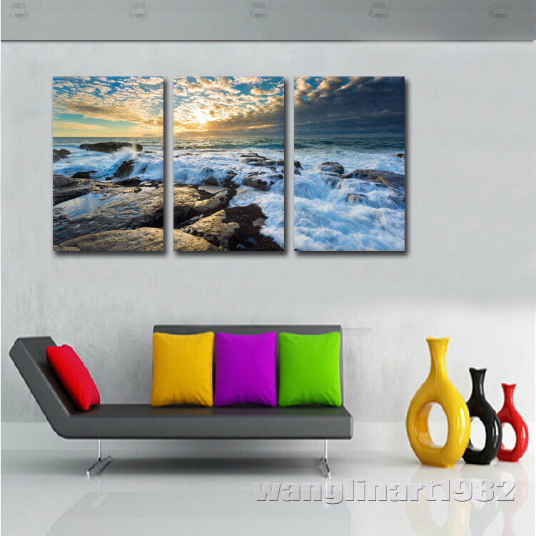 Great ocean waves rushing rocks wall pictures canvas print for Ocean decorations for home