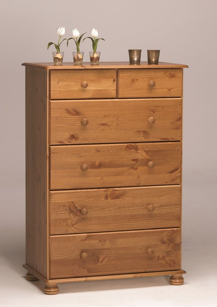 steens richmond solid pine 4 2 deep chest of drawers metal drawer runners ebay. Black Bedroom Furniture Sets. Home Design Ideas