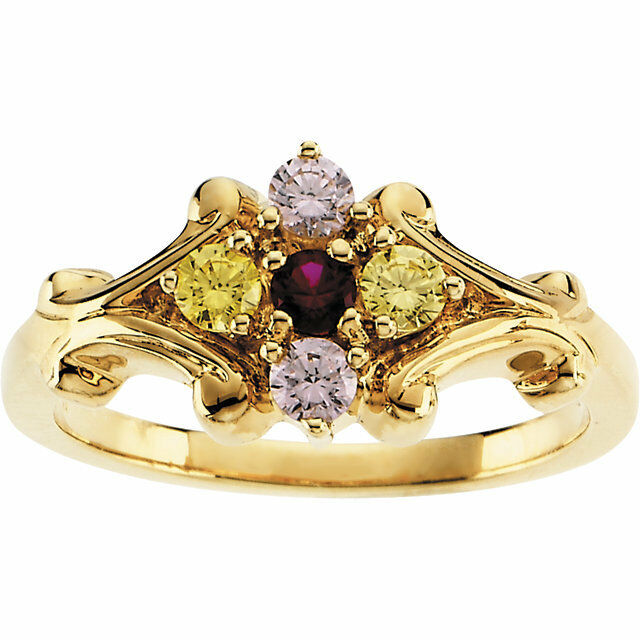 14k solid gold s ring 1 to 5 birthstones