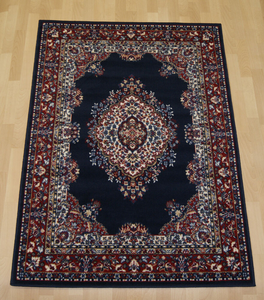 Cheap Budget Navy Blue Traditional Persian Oriental Rug