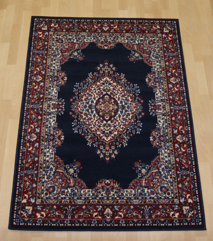 Cheap budget navy blue traditional persian oriental rug for Blue and white oriental rug