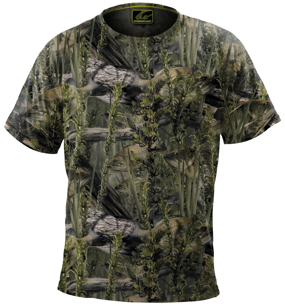 Fishouflage performance 100 polyester bass fishing camo s for Bass fishing shirt