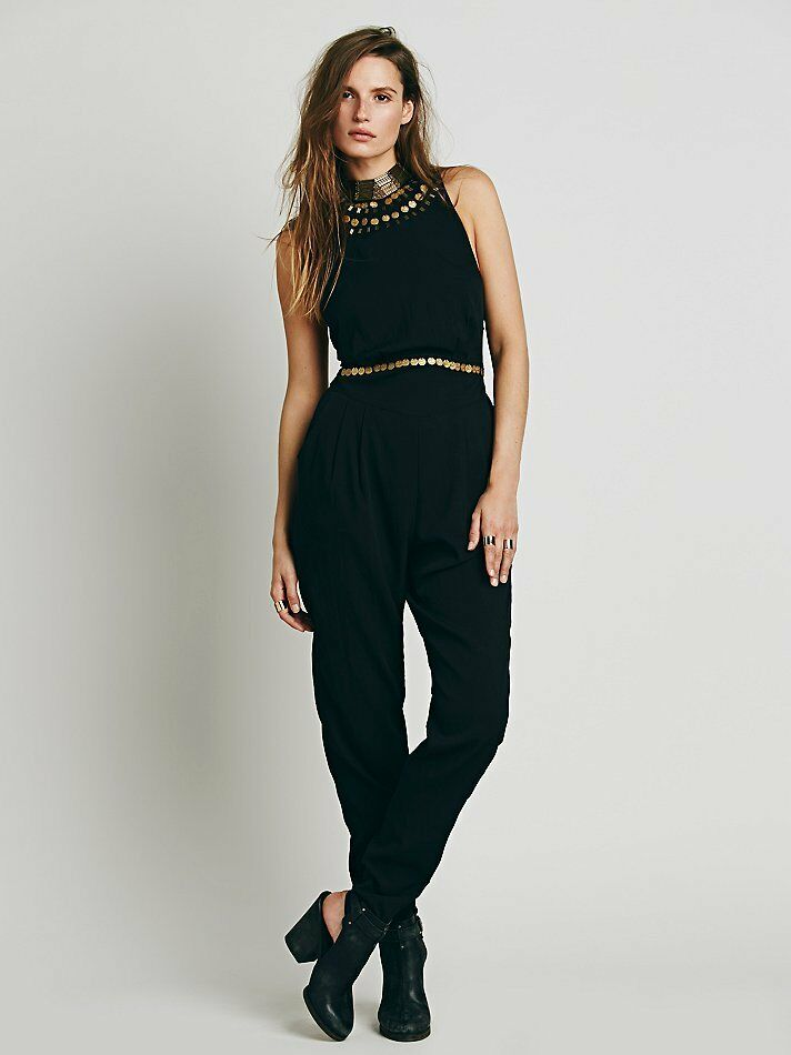 20b434bcbf0 Details about Free People Black Coin Beaded Embellished Cat Suit Jumpsuit