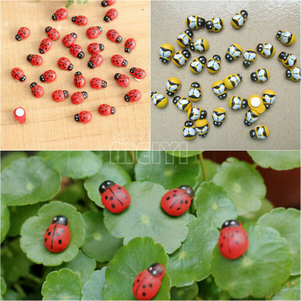 10x Miniature Ladybird Ladybug Garden Ornament Figurine Bee Fairy Dollhouse  DIY | EBay