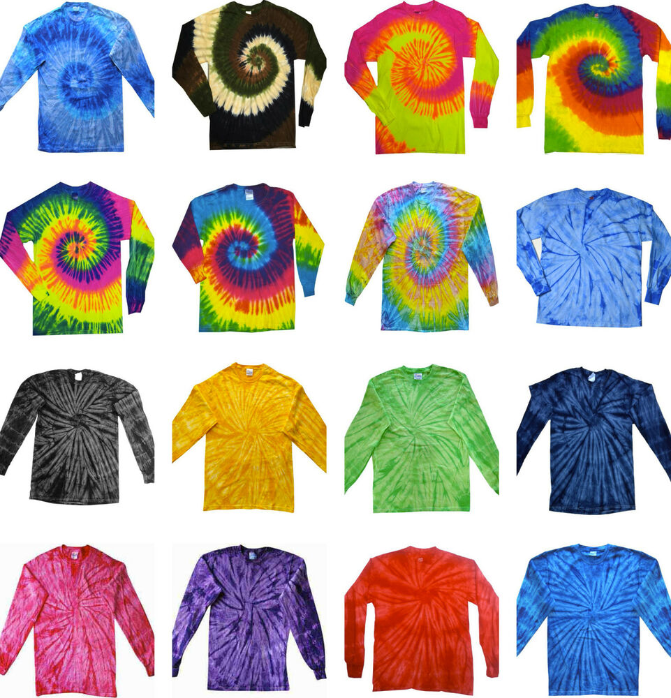 Tie dye t shirts long sleeve multi colors spiral size youth xs to adult 3xl ebay - Tie and dye colore ...