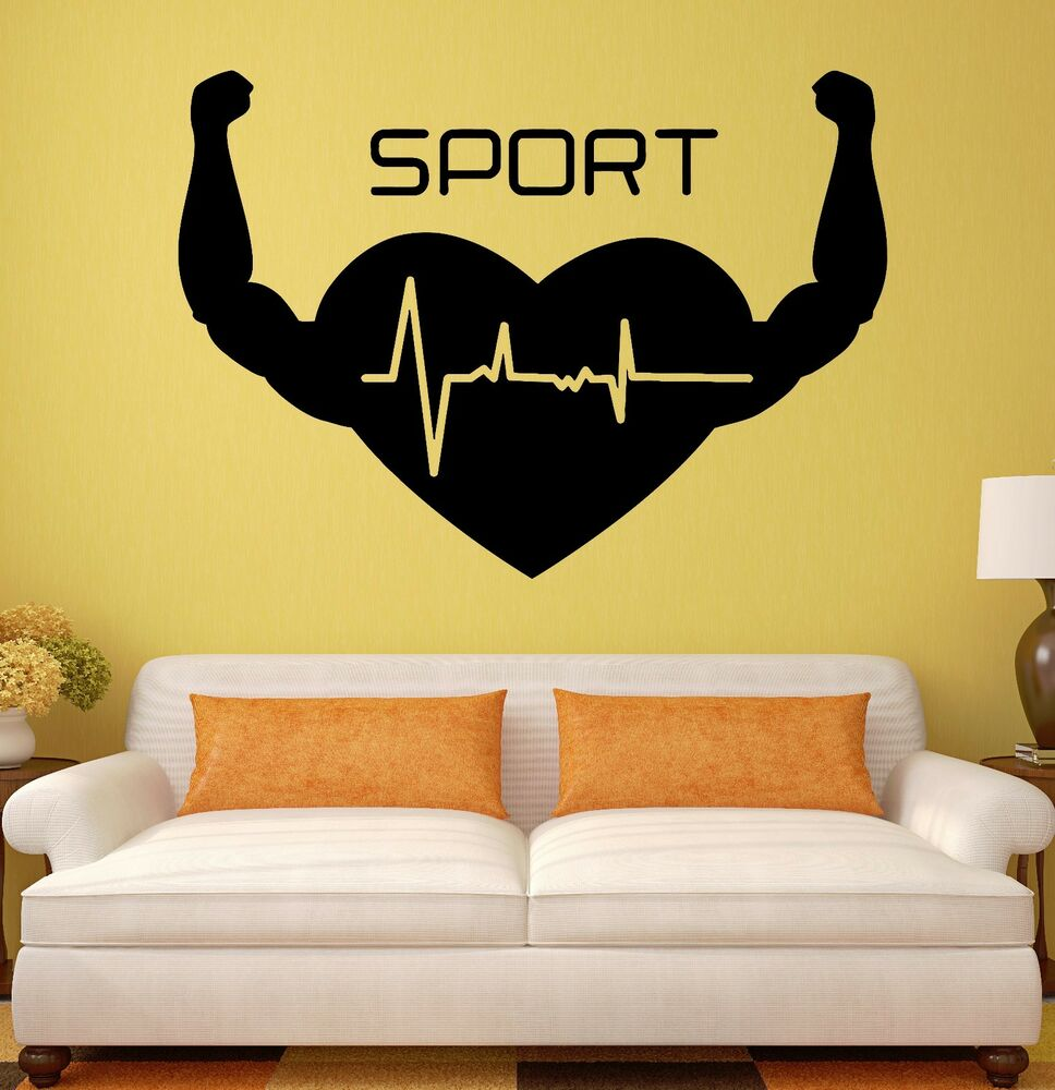 Wall Decal Sport Heart Healthy Lifestyle Gym Vinyl Stickers (ig2624 ...