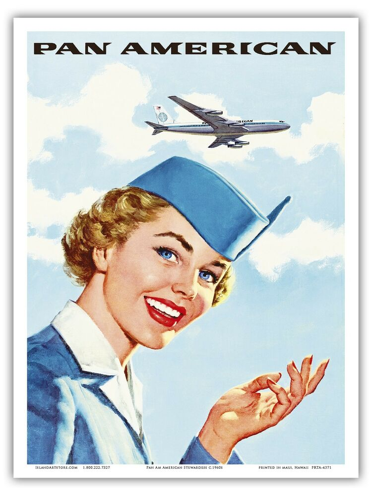 Airline Stewardess Pan Am Vintage Airline Travel Art