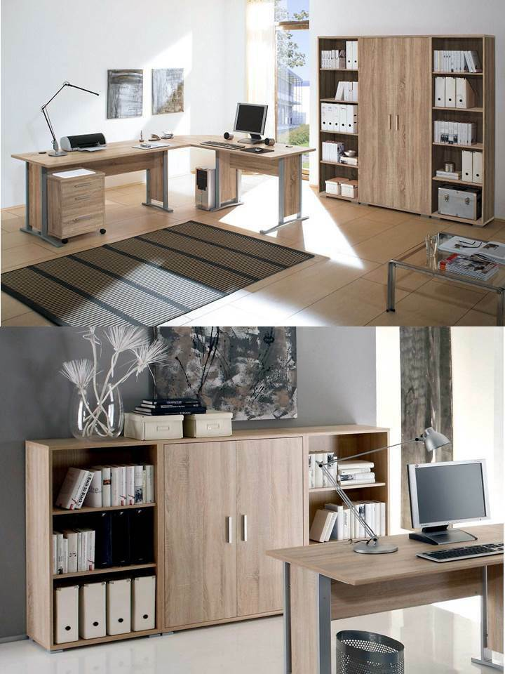 arbeitszimmer b roeinrichtung b rom bel b ro komplett set office line in eiche ebay. Black Bedroom Furniture Sets. Home Design Ideas
