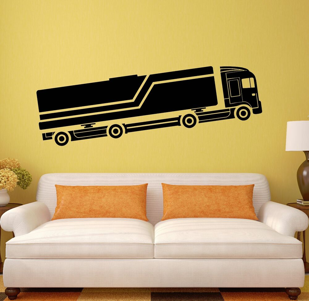 Wall decal truck car garage decor cool mural vinyl for Cars wall mural sticker