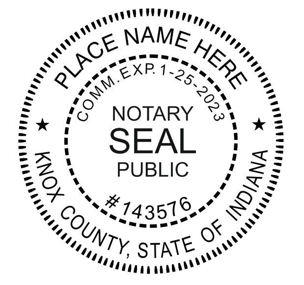 INDIANA Custom - Round Self-Inking NOTARY SEAL RUBBER ...