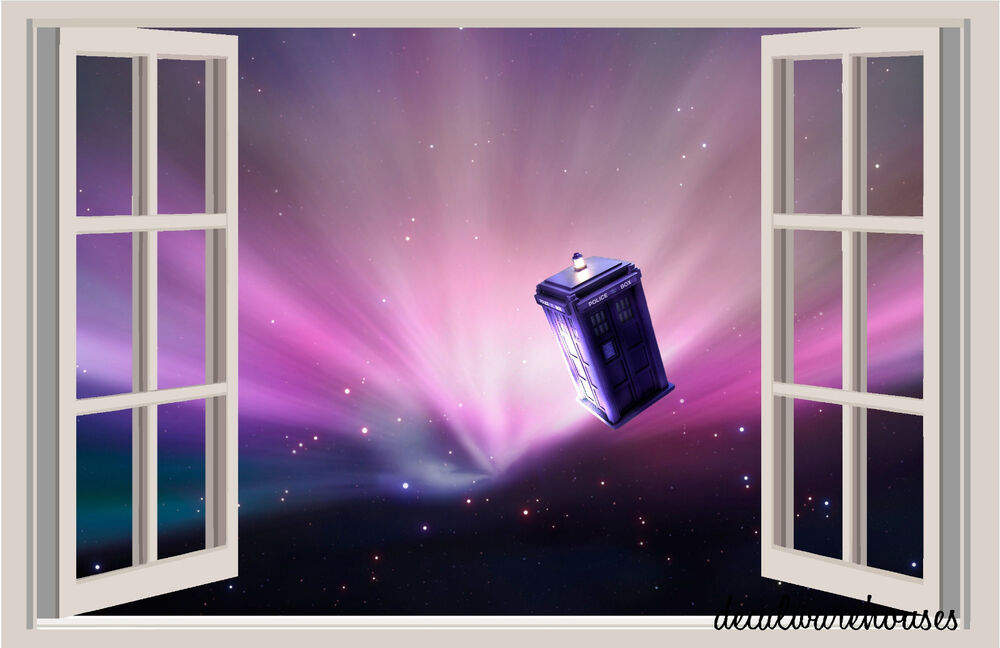 dr who tardis in space window view color wall sticker