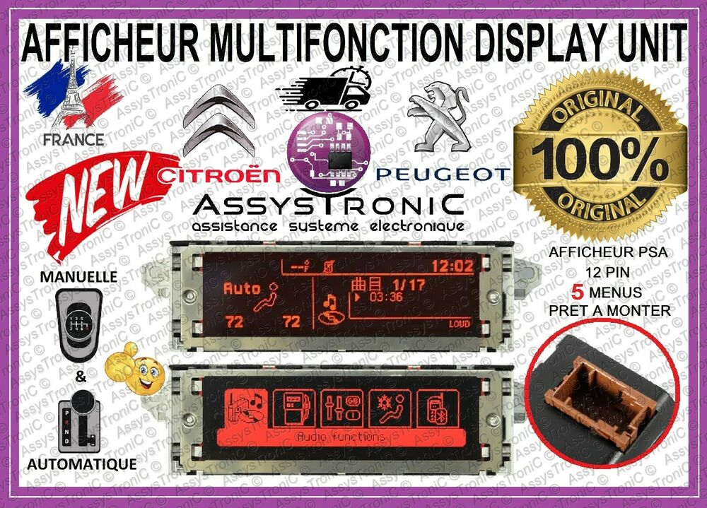 afficheur lcd multifonction neuf peugeot citroen 207 307 407 c2 c3 c4 ebay. Black Bedroom Furniture Sets. Home Design Ideas