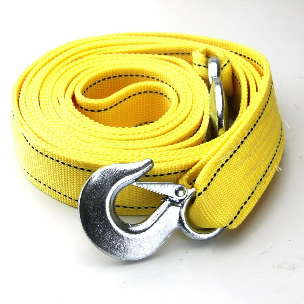 Vehicle Tow Straps : Tons car tow cable towing strap rope with hooks heavy