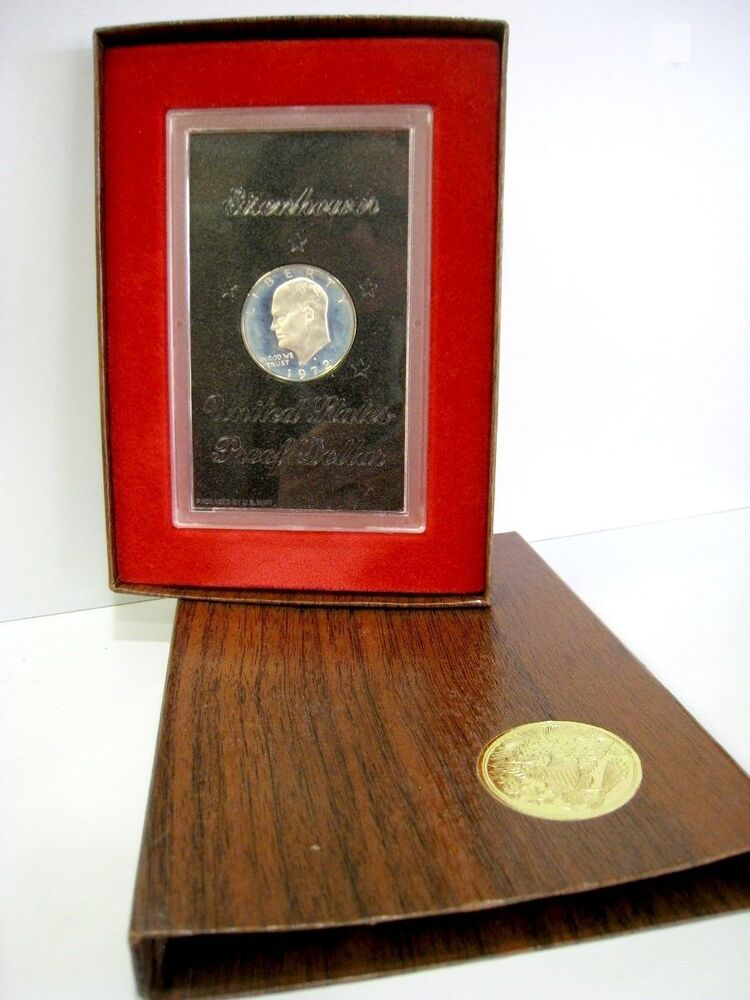 1972 Eisenhower Proof 40 Silver Dollar In A Brown Box Us