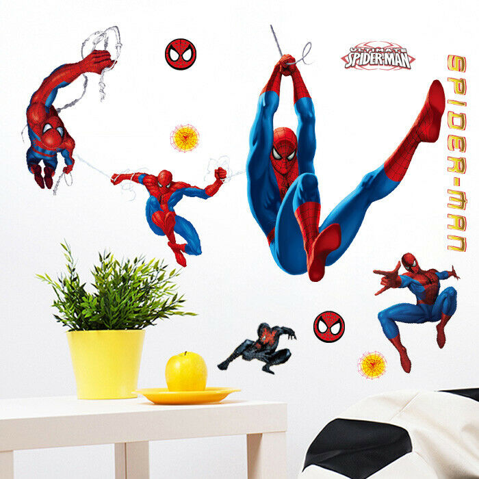 large amazing spiderman wall stickers boys kids childrens fairy stars butterflies removable kids wall stickers girls