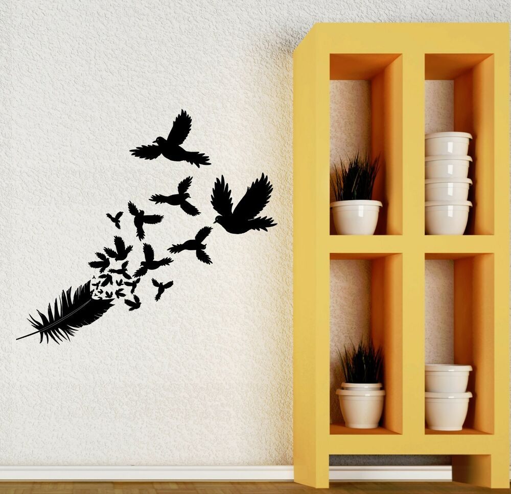 Wall decal birds feather beautiful room decor art vinyl - Beautiful wall stickers for living room ...